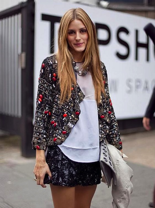 Olivia-Palermo-in-sequin-shorts-embellished-blazer