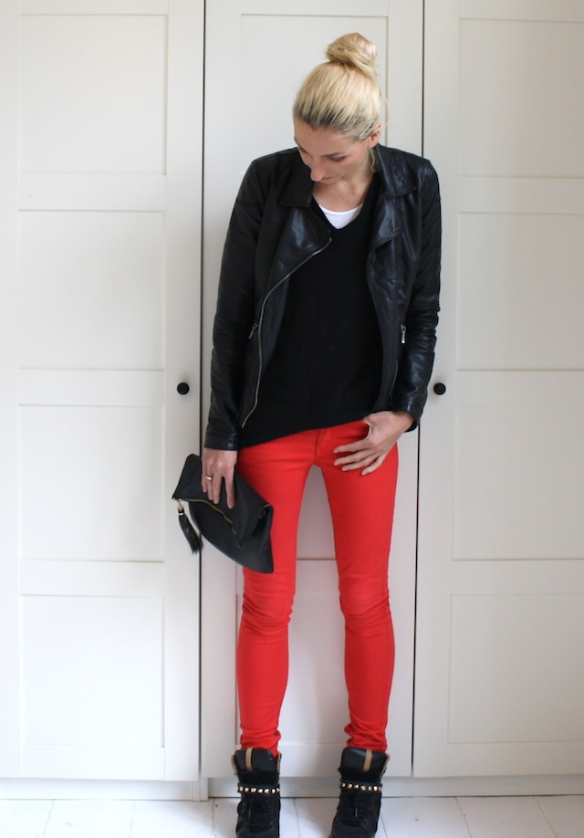 red & leather